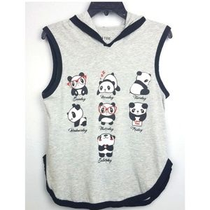 Cute panda shirt hoody, graphic tank in large